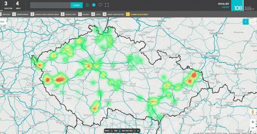 Digitální mapa aktuálně volných průmyslových prostor